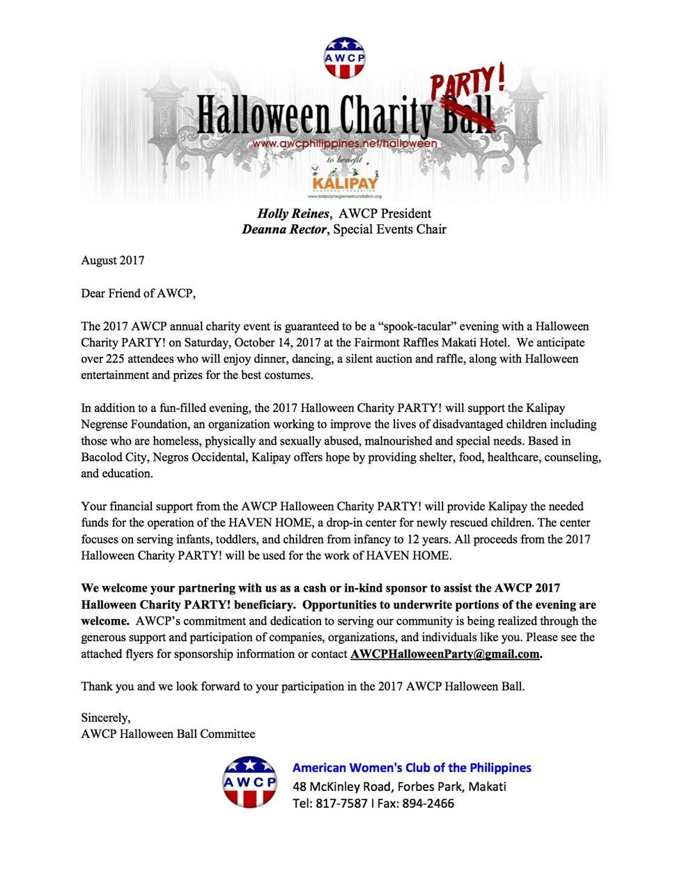 American womens club of the philippines letter to sponsor home activities halloween charity party letter to sponsor thecheapjerseys Images